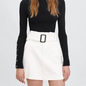 Zara Ivory Corduroy Mini Skirt